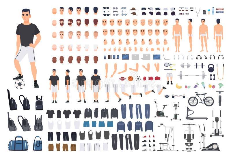 Fußball- oder Fußballspielerschaffungsausrüstung Bündel Mann ` s Körperteile, Haltungen, trägt Kleidung, die Übungsmaschinen zur  stock abbildung