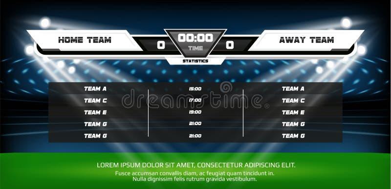 Fußball- oder Fußballspielfeld mit Satz infographic Elementen Sport Spiel Fußballstadionsscheinwerfer und -Anzeigetafel lizenzfreie abbildung