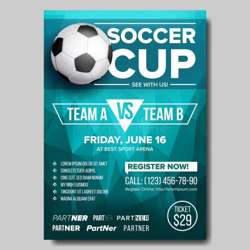 Fußball-Plakat-Vektor Erfordernis des Fußballs ball Design für Sport-Stangen-Förderung Turnier, Meisterschafts-Flieger-Design Fuß vektor abbildung