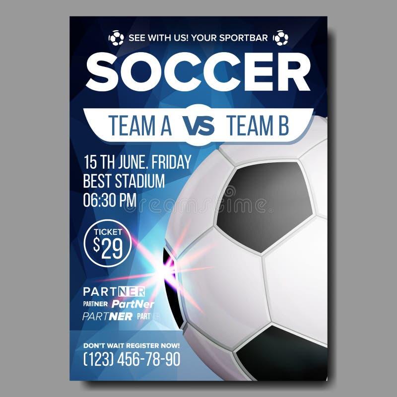 Fußball-Plakat-Vektor Sportbar-Spiel-Ereignis-Mitteilung Fußball-Fahnen-Werbung Berufsliga sport stock abbildung