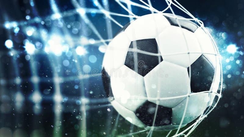 Fußball schießt ein Tor auf dem Netz Wiedergabe 3d stockbild