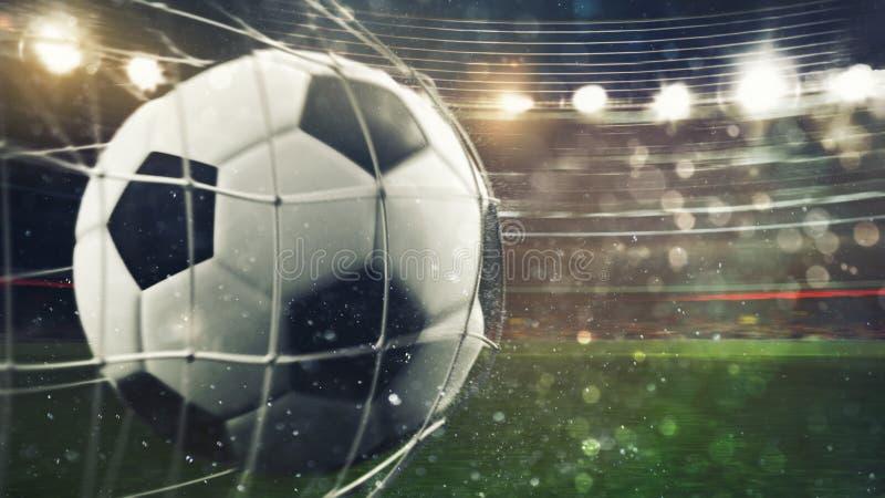 Fußball schießt ein Tor auf dem Netz Wiedergabe 3d lizenzfreie stockbilder