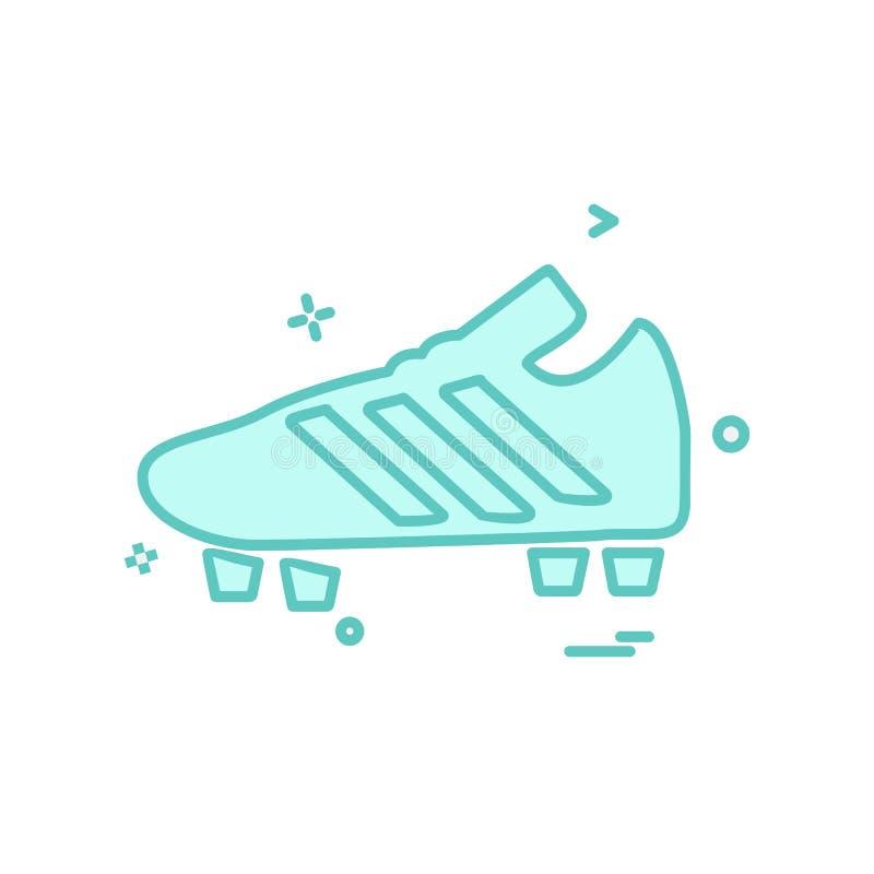 Fußball-Schuhikonen-Designvektor lizenzfreie abbildung
