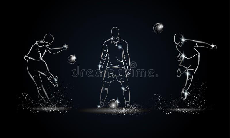 Fußball-Spieler eingestellt Metallische lineare Fußballspielerillustration stockbild