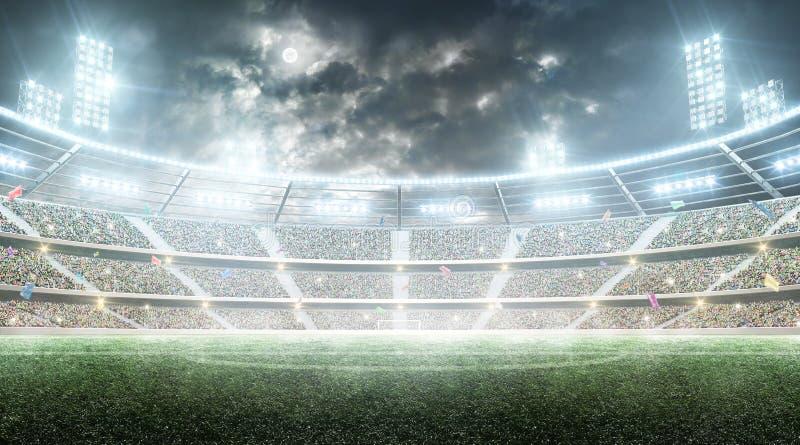 Fußball stadium Profisportarena Nachtstadion unter dem Mond mit Lichtern, Fans und Flaggen Hintergrund stockbilder