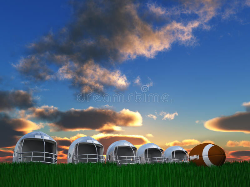 Fußball-Sturzhelm-Aufbau stock abbildung
