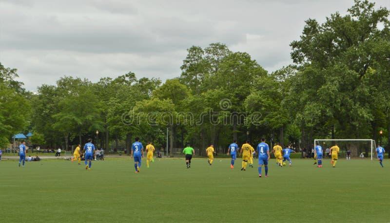 Fußball Team Game im Park stockbild