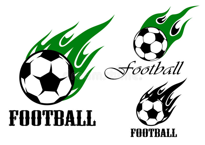 Fußball trägt Embleme mit loderndem Ball zur Schau lizenzfreie abbildung
