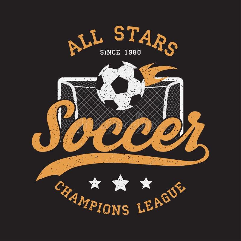Fußball trägt Kleid mit Fußballziel und brennendem Ball zur Schau Typografieemblem für T-Shirt Design für athletischen Kleidungsd vektor abbildung