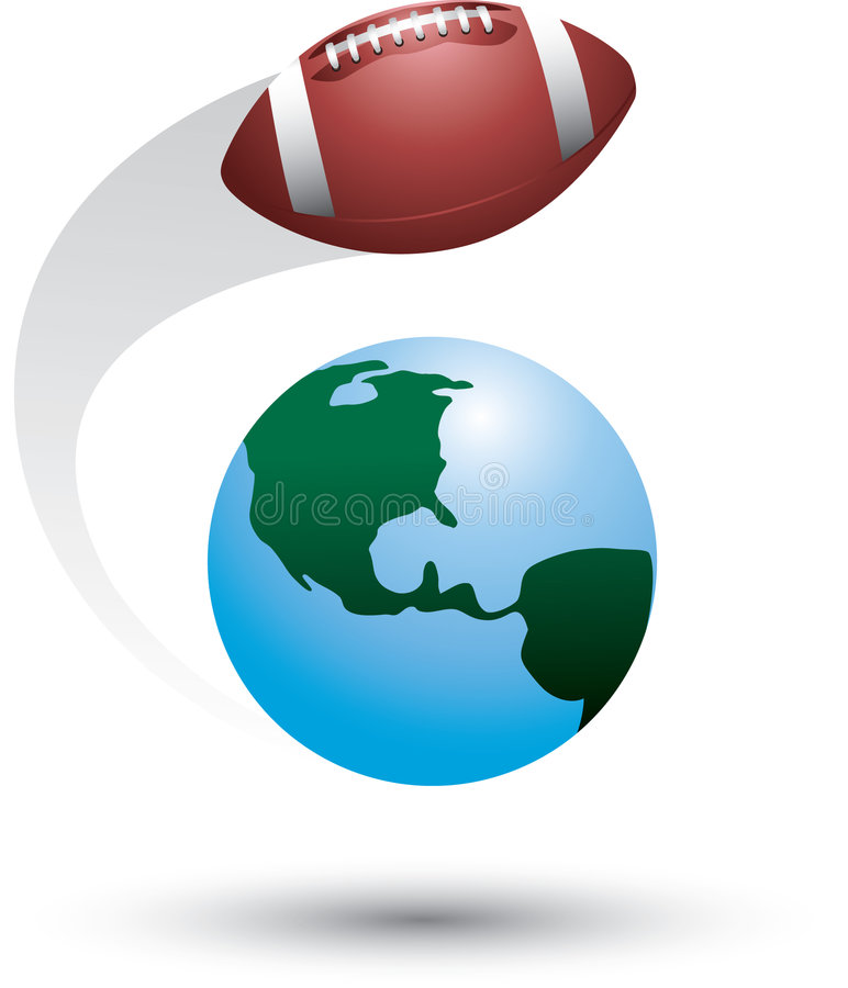 Fußball um die Welt lizenzfreie abbildung