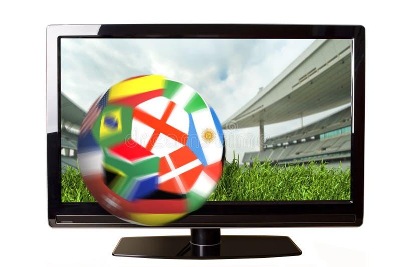 Fußball und Fernsehapparat stock abbildung