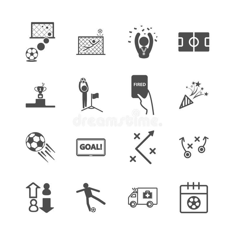 Fußball- und Fußballikonen Sportspiel und Tätigkeitskonzept Glyph- und Entwurfsanschlagikonenthema Vektorillustrationsgraphik lizenzfreie abbildung