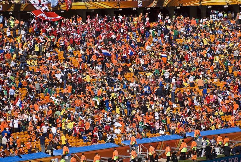 Fußball-Verfechter an der Fußball-Stadt - FIFA-WC 2010 stockfoto