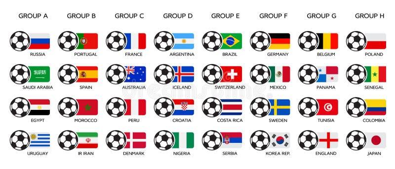 Fußball-Weltcup 2018 Russland 2018 Weltcup, Teamgruppe und Staatsflaggen Satz nationale Vektorflaggen stock abbildung