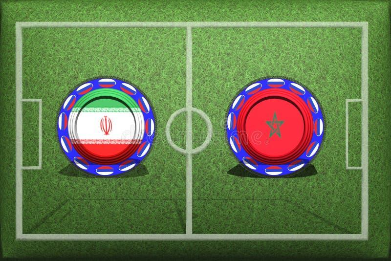 Fußball, Weltcup 2018, Spiel-Gruppe B, Marokko - der Iran stock abbildung