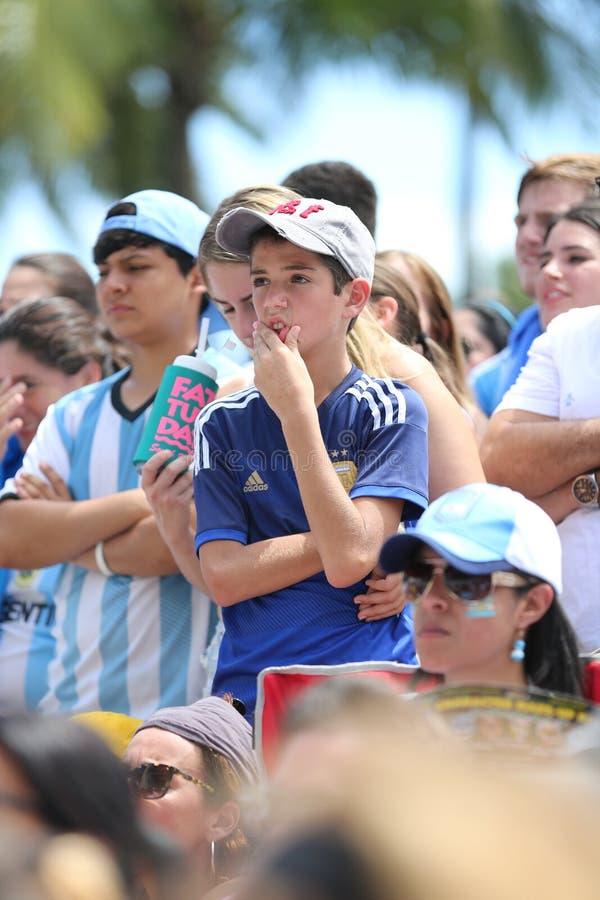 Fußball-Weltmeisterschafts-Fans auf Miami Beach stockfotos