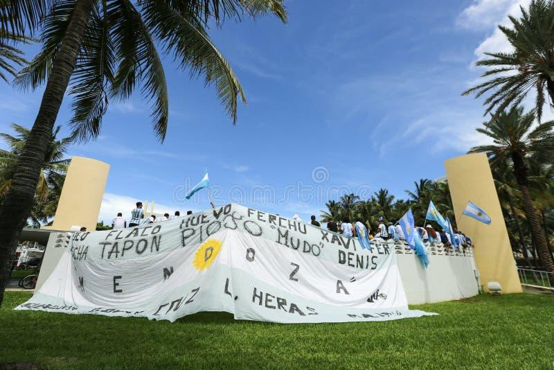 Fußball-Weltmeisterschafts-Feier 2014 auf Miami Beach stockfotografie