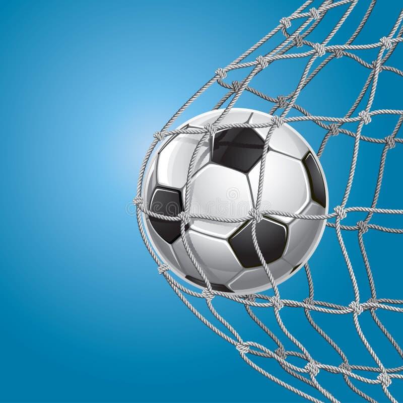 Fußball-Ziel. Ein Fußball in einem Netz. stock abbildung