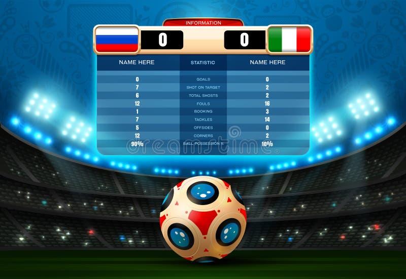 Fußballanzeigetafel-Fußballwelt Russland vektor abbildung