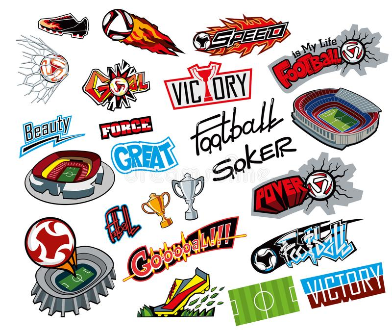 Fußballattribute, Graffitiaufkleber lizenzfreie abbildung