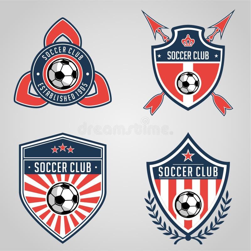 Fußballausweislogoschablonen-Sammlungsentwurf, Fußballteam, Vektor Sport, Ikone lizenzfreie abbildung