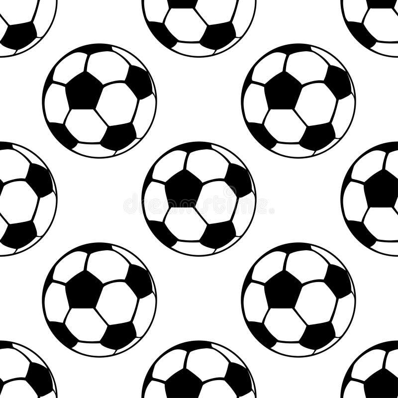Fußballbälle nahtloses Muster, Vektorsporthintergrund Junger Mann läuft in Stadt vektor abbildung