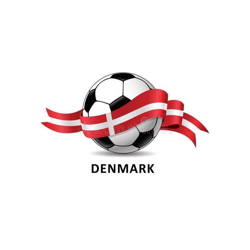 Fußballball mit bunter Spur DÄNEMARK-Staatsflagge vektor abbildung