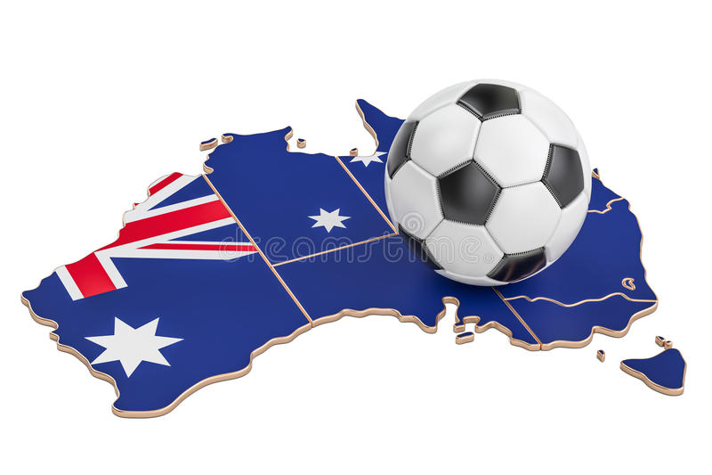 Fußballball mit Karte von Australien-Konzept, Wiedergabe 3D lizenzfreie abbildung