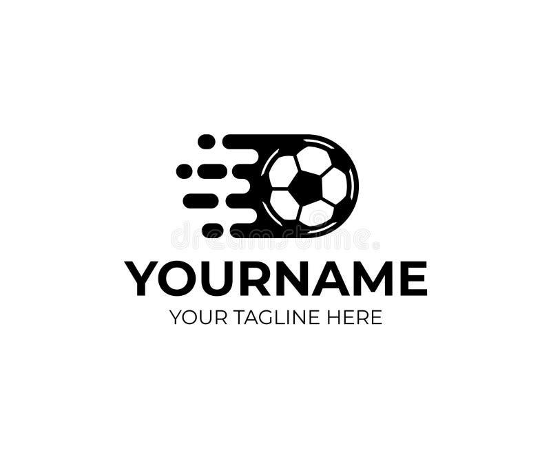 Fußballball und -Fußball fliegt schnell, Logoschablone Fußballcupmeisterschaft und Sportturnier durch Fußball, Vektordesign lizenzfreie abbildung