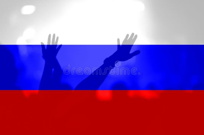 Fußballfane mit der Mischung von Russland-Flagge stockbild