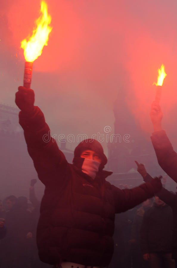 Fußballfane in Russland lizenzfreies stockbild