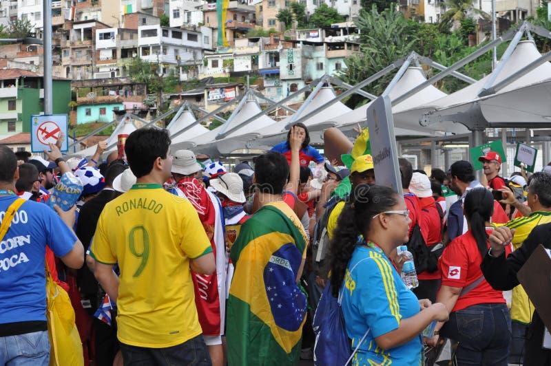Fußballfans in der Fußball-Weltmeisterschaft 2014 stockfotos
