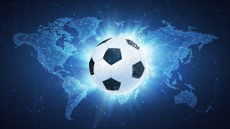 Fußballfußball-Ballfliegen auf Kartenhintergrund lizenzfreie abbildung