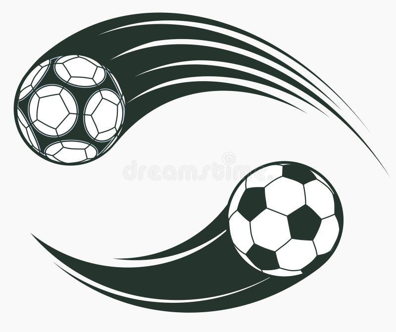 Fußballfußball bewegende Swooshelemente, dynamisches Sportzeichen Vektor vektor abbildung