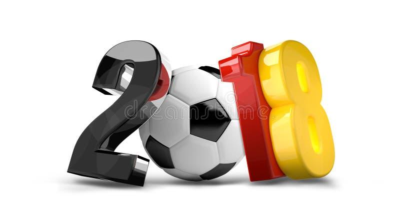 Fußballfußball Deutschland 2018 3d übertragen lokalisiert lizenzfreie abbildung