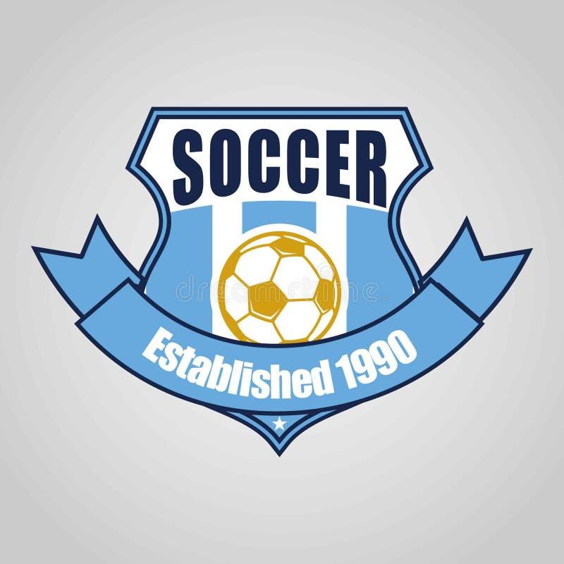 Fußballfußballausweislogo-Schablonenentwurf, Fußballteam, Vektor Sport, Ikone vektor abbildung