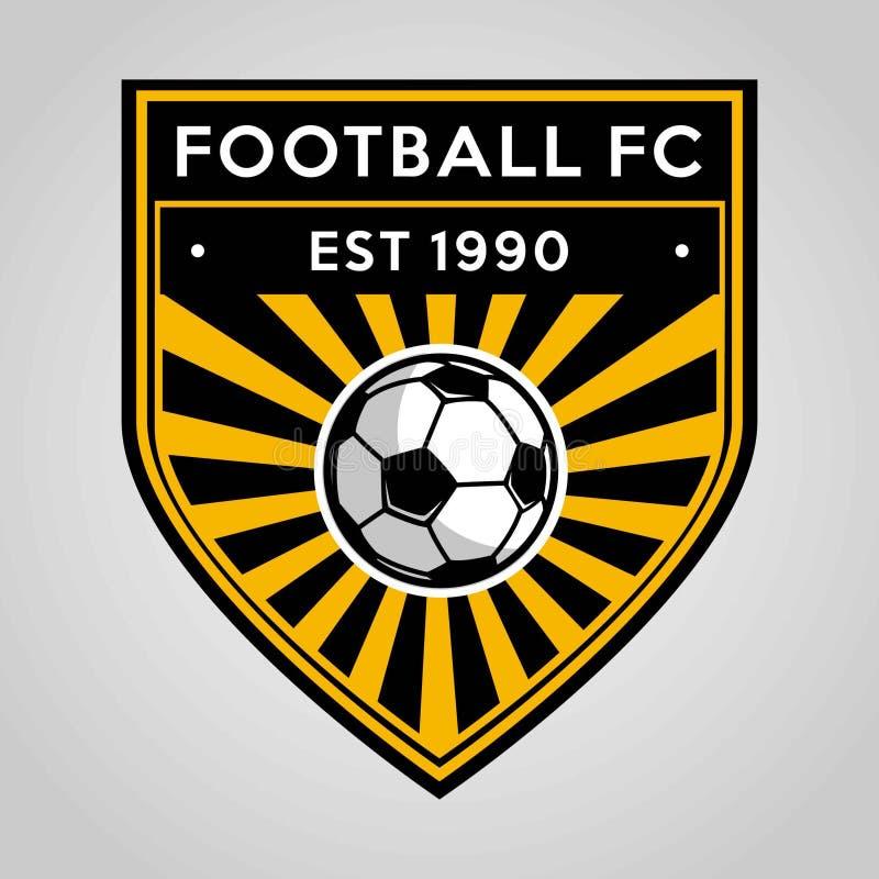 Fußballfußballausweislogo-Schablonenentwurf, Fußballteam, Vektor Sport, Ikone stock abbildung