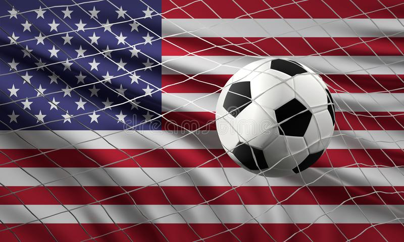 Fußballfußballball und Flagge der wi der Vereinigten Staaten von Amerika lizenzfreie abbildung