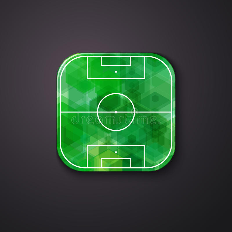 Fußballfußballikone stilisiert wie bewegliche APP Vektor illustrati lizenzfreie abbildung