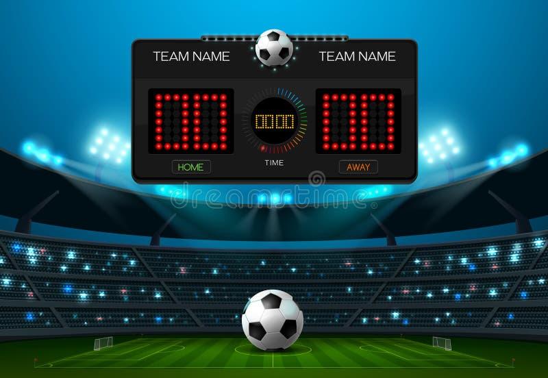 Fußballfußballplatz mit Anzeigetafel und Scheinwerfer lizenzfreie abbildung