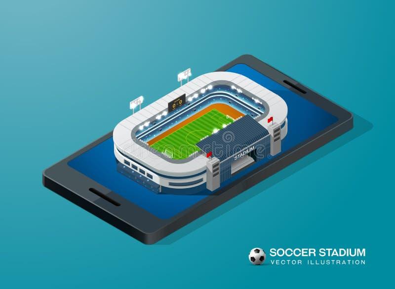 Fußballfußballstadion am intelligenten Telefon isometrisch lizenzfreie abbildung