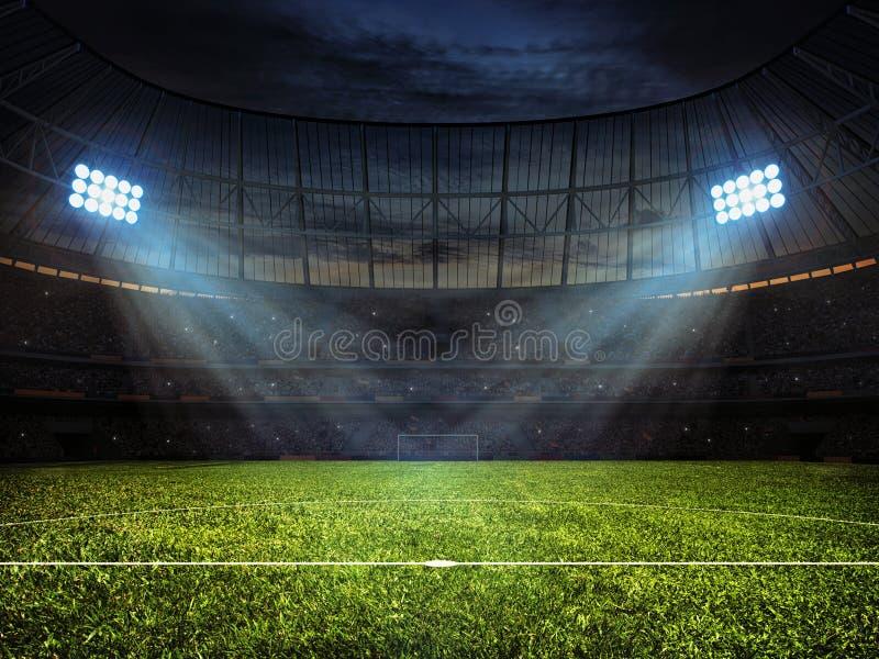 Fußballfußballstadion mit Flutlichtern stockbild