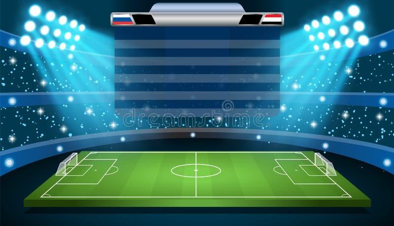 Fußballfußballstadionsscheinwerfer stock abbildung