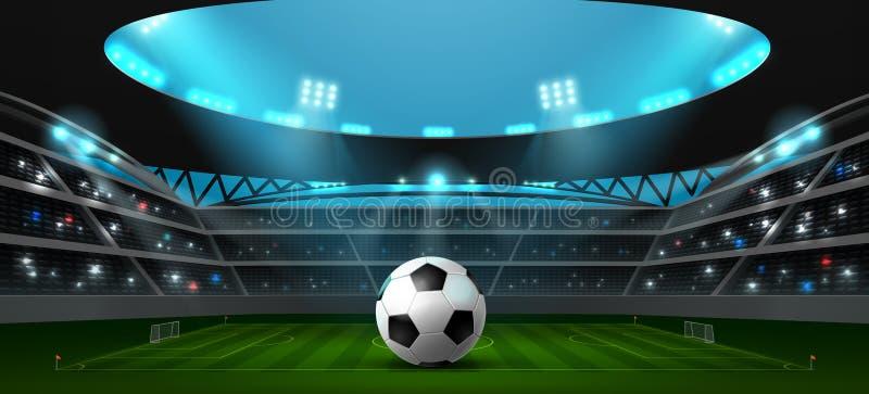 Fußballfußballstadionsscheinwerfer lizenzfreie abbildung