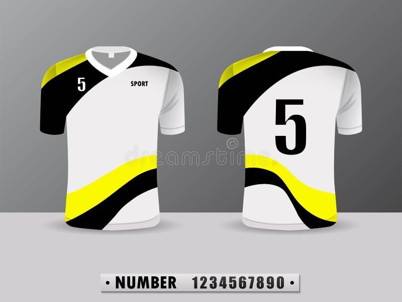 Fußballhemd-Entwurf T-Shirt trägt schwarze und gelbe Farbe zur Schau Angespornt durch die Zusammenfassung Vorderansicht und Rücks vektor abbildung