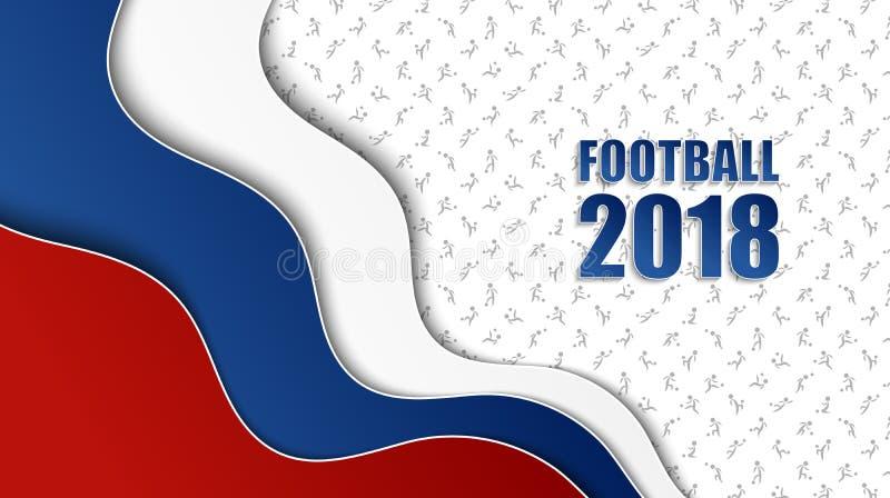 Fußballhintergrund mit russischen Staatsflaggefarben und differen stock abbildung