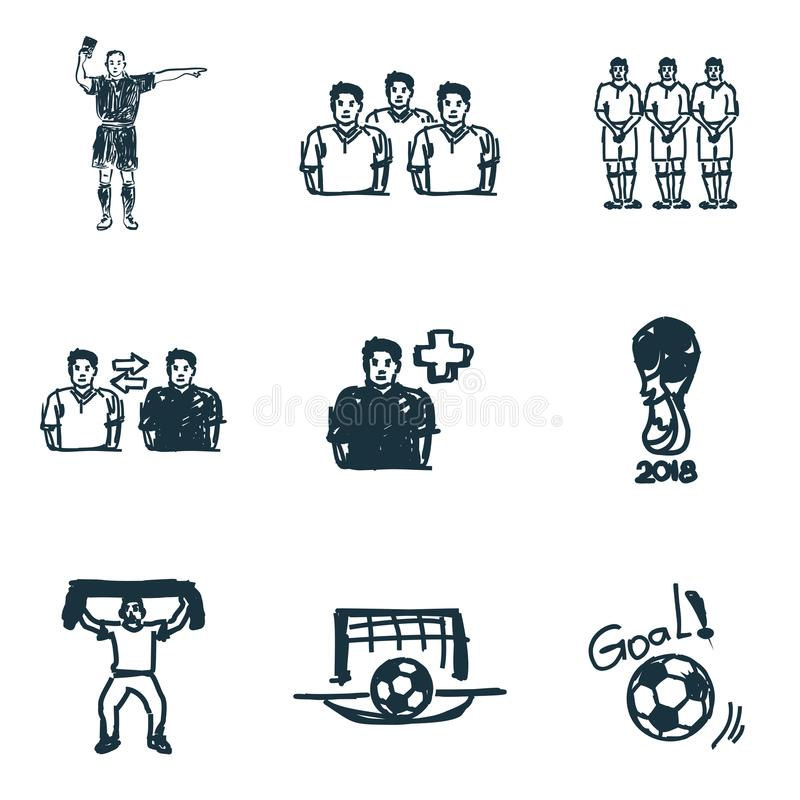 Fußballikonen eingestellt Zielikone, Fußballschiedsrichterikone, Fußballfanikone und mehr Erstklassige Qualitäts-Symbol-Sammlung lizenzfreie abbildung