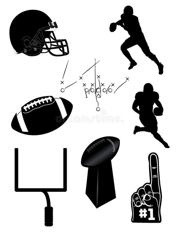 Fußballikonen und -elemente stock abbildung
