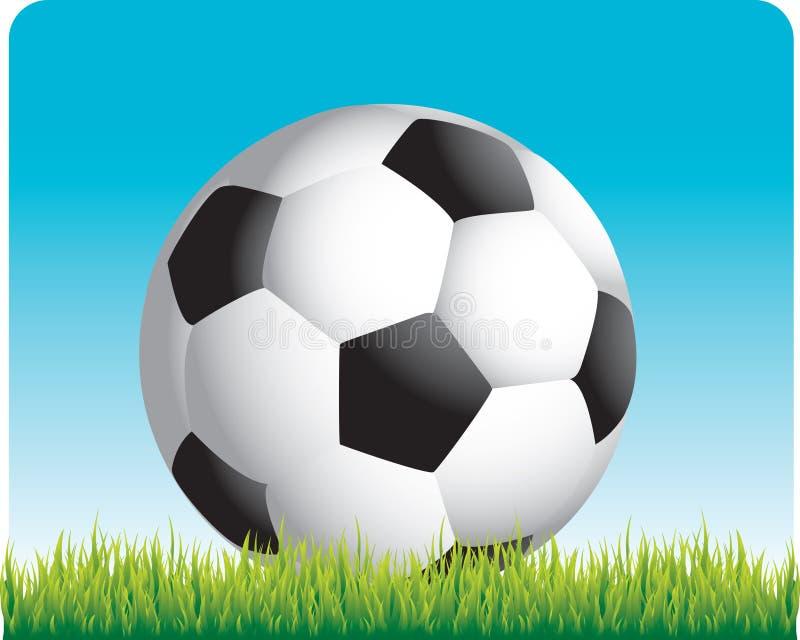 Fußballkugel auf dem Gras stock abbildung