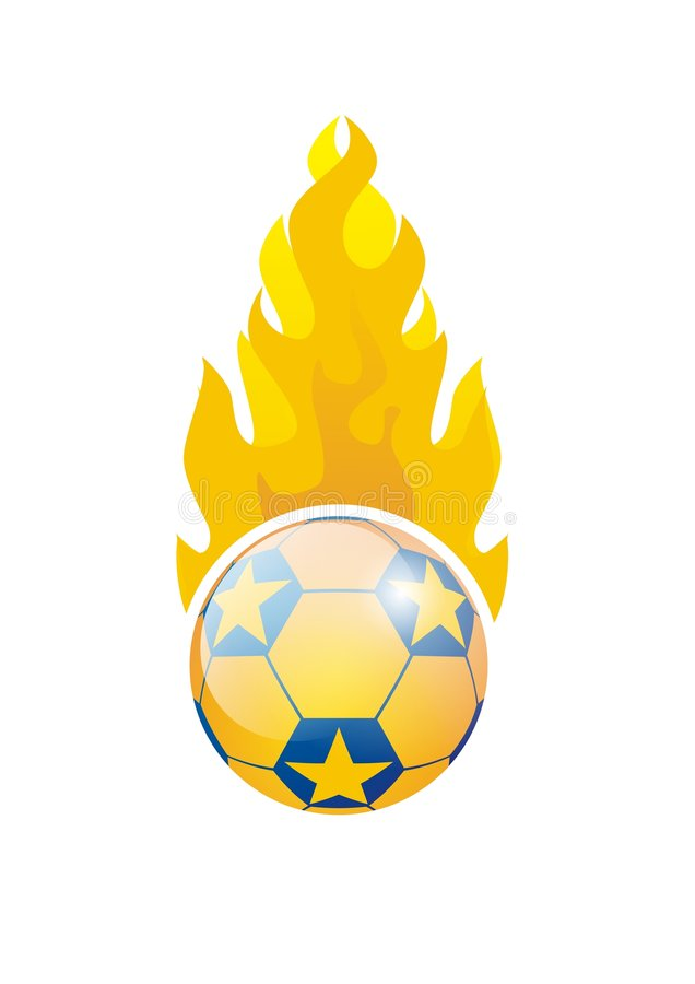 Fußballkugel auf Feuer stock abbildung